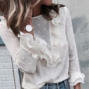 Tops - 🎉HP🎉 Beautiful Chiffon Polka Dot Ruffled Blouse